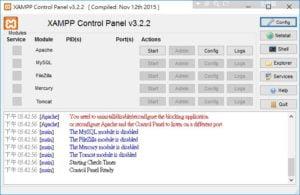 Xmapp控制台畫面