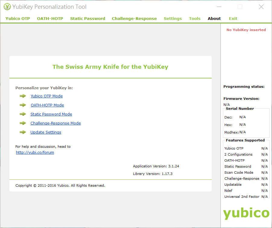 Yubikey應用程式介面